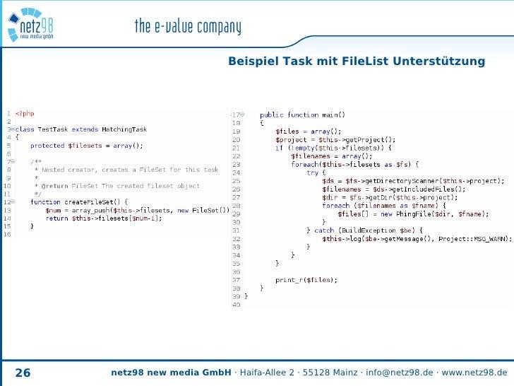Beispiel Task mit FileList Unterstützung     26   netz98 new media GmbH · Haifa-Allee 2 · 55128 Mainz · info@netz98.de · w...
