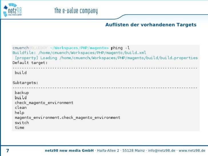 Auflisten der vorhandenen Targets     7   netz98 new media GmbH · Haifa-Allee 2 · 55128 Mainz · info@netz98.de · www.netz9...