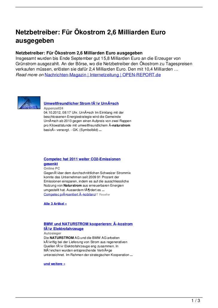Netzbetreiber: Für Ökostrom 2,6 Milliarden EuroausgegebenNetzbetreiber: Für Ökostrom 2,6 Milliarden Euro ausgegebenInsgesa...