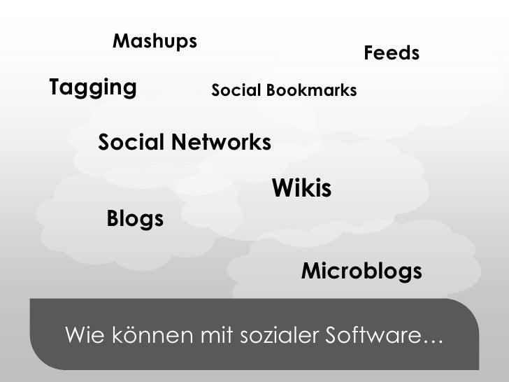 Mashups<br />Feeds<br />Tagging<br />Social Bookmarks<br />Wie können mit sozialer Software…<br />Social Networks<br />Wik...