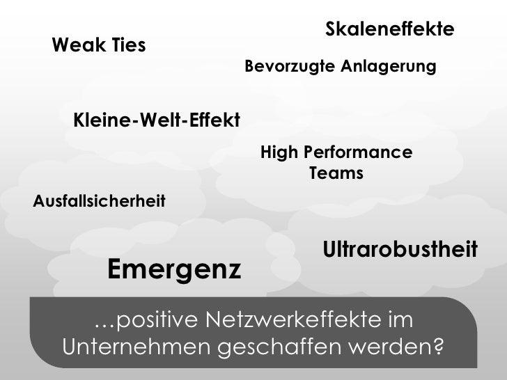 Skaleneffekte<br />WeakTies<br />Bevorzugte Anlagerung<br />Kleine-Welt-Effekt<br />…positive Netzwerkeffekte im Unternehm...