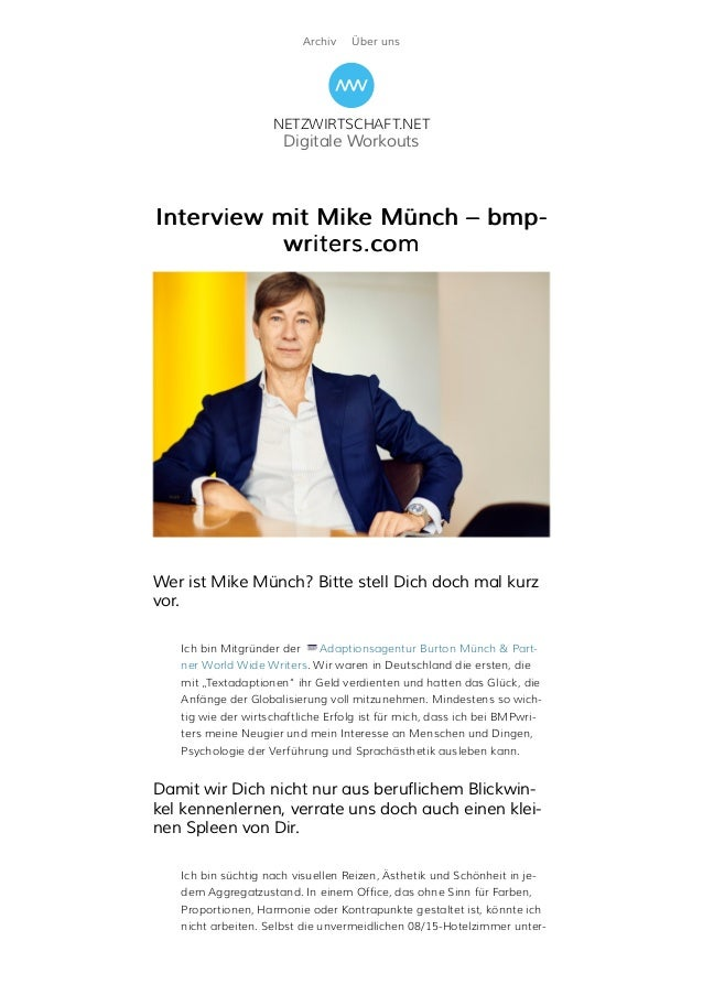 Archiv Über uns NETZWIRTSCHAFT.NET Digitale Workouts Interview mit Mike Münch – bmp-Interview mit Mike Münch – bmp- writer...