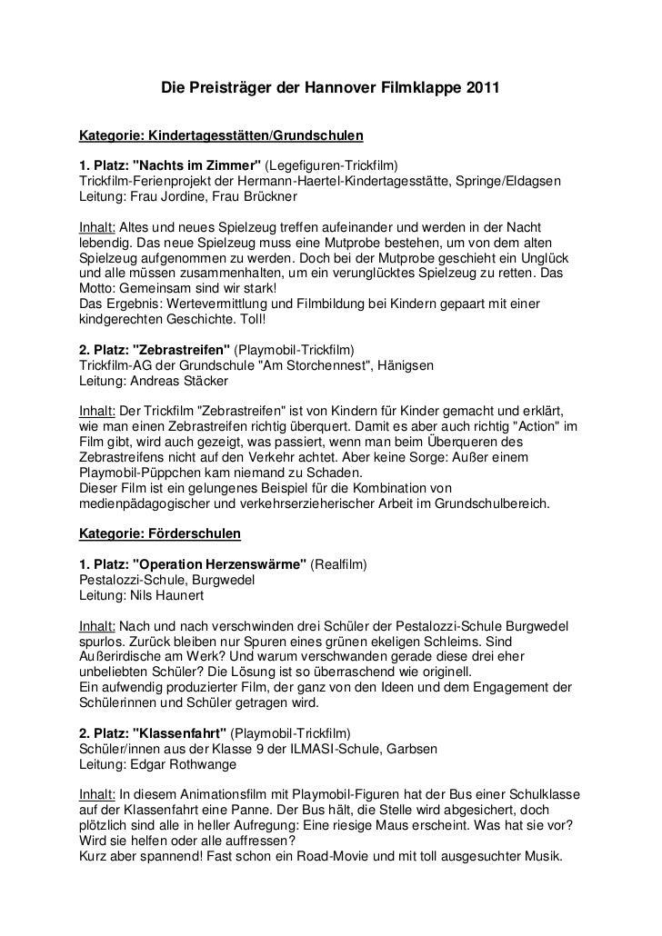 """Die Preisträger der Hannover Filmklappe 2011Kategorie: Kindertagesstätten/Grundschulen1. Platz: """"Nachts im Zimmer"""" (Legefi..."""