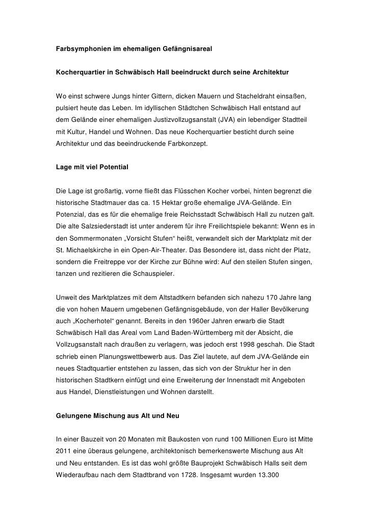 Farbsymphonien im ehemaligen GefängnisarealKocherquartier in Schwäbisch Hall beeindruckt durch seine ArchitekturWo einst s...