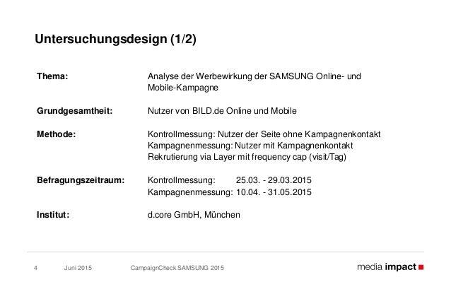 Juni 2015 CampaignCheck SAMSUNG 20154 Untersuchungsdesign (1/2) Thema: Analyse der Werbewirkung der SAMSUNG Online- und Mo...