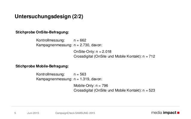 Juni 2015 CampaignCheck SAMSUNG 20155 Untersuchungsdesign (2/2) Stichprobe OnSite-Befragung: Kontrollmessung: n = 662 Kamp...
