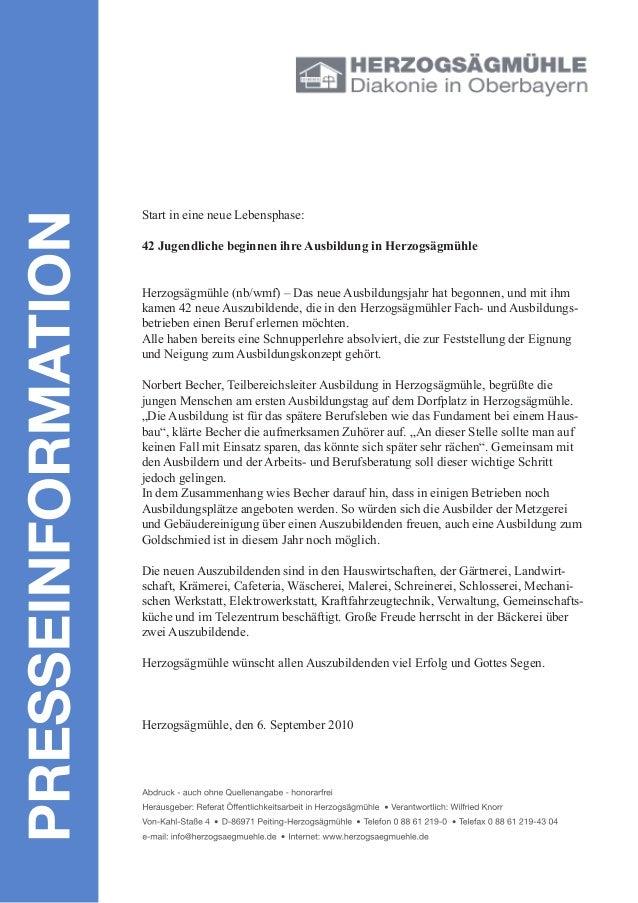 Start in eine neue Lebensphase: 42 Jugendliche beginnen ihre Ausbildung in Herzogsägmühle Herzogsägmühle (nb/wmf) – Das ne...