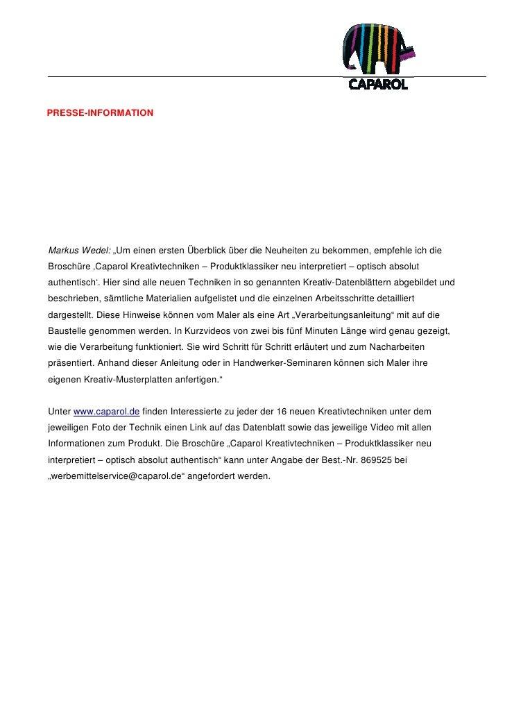 """PRESSE-INFORMATIONMarkus Wedel: """"Um einen ersten Überblick über die Neuheiten zu bekommen, empfehle ich dieBroschüre 'Capa..."""