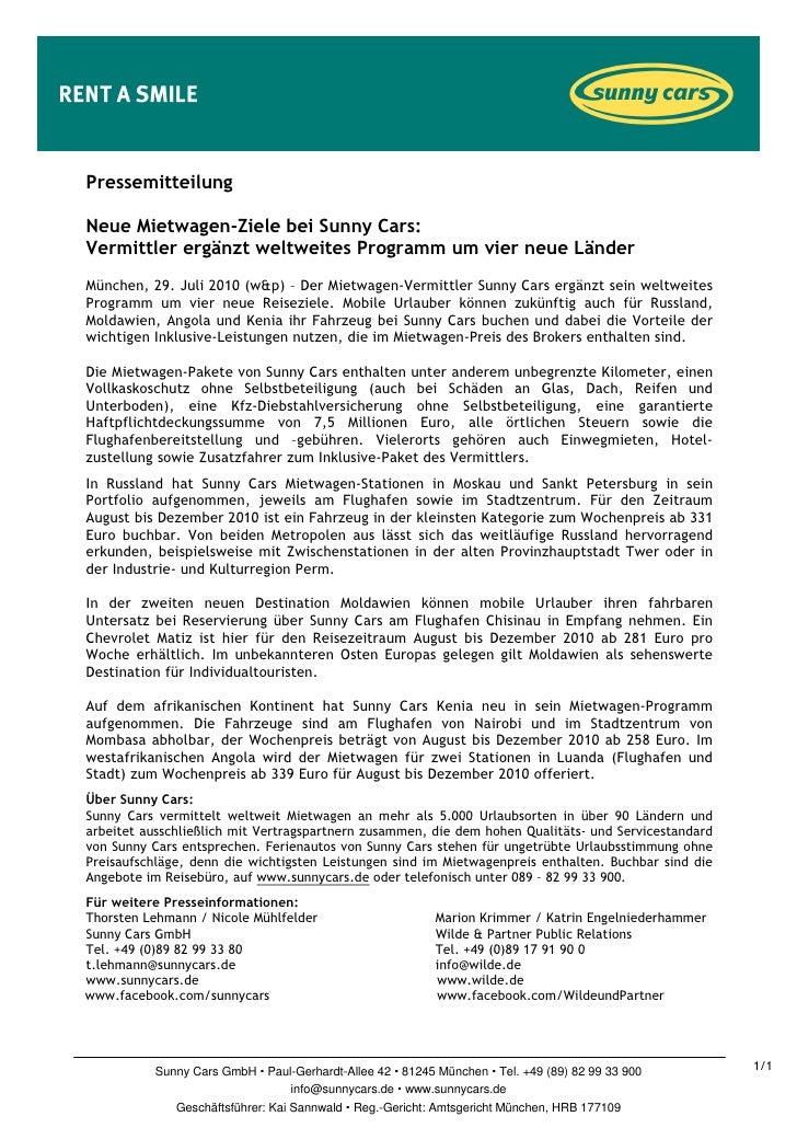 PressemitteilungNeue Mietwagen-Ziele bei Sunny Cars:Vermittler ergänzt weltweites Programm um vier neue LänderMünchen, 29....