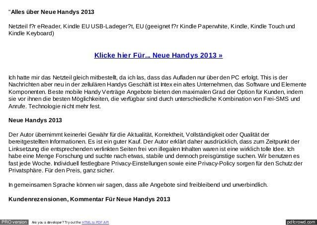 """Alles über Neue Handys 2013  Netzteil f?r eReader, Kindle EU USB-Ladeger?t, EU (geeignet f?r Kindle Paperwhite, Kindle, K..."