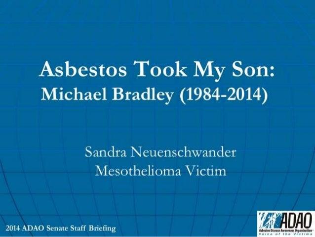 """Sandra Neuenschwander, Mesothelioma Victim: """"Asbestos Took My Son Away"""""""