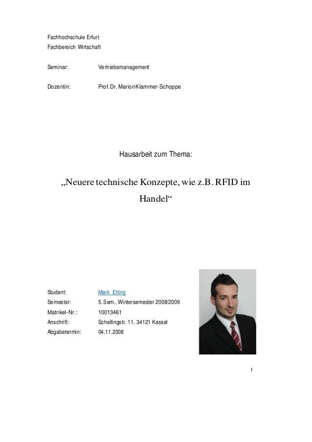 I Fachhochschule Erfurt Fachbereich Wirtschaft Seminar: Vertriebsmanagement Dozentin: Prof.Dr.MarionKlammer-Schoppe Hausar...