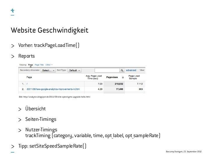 Website Geschwindigkeit  Vorher: trackPageLoadTime()  Reports  Bild: http://analytics.blogspot.de/2011/09/site-speed-gets-...