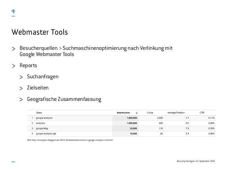 Webmaster Tools  Besucherquellen > Suchmaschinenoptimierung nach Verlinkung mit  Google Webmaster Tools  Reports     Sucha...