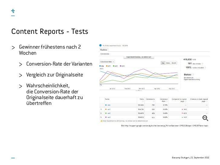 Content Reports - Tests  Gewinner frühestens nach 2  Wochen     Conversion-Rate der Varianten     Vergleich zur Originalse...