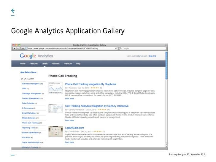 Google Analytics Application Gallery                                       Barcamp Stuttgart, 23. September 2012