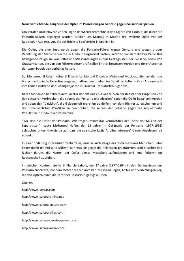 Neue vernichtende Zeugnisse der Opfer im Prozess wegen Genozid gegen Polisario in Spanien Gräueltaten und schwere Verletzu...
