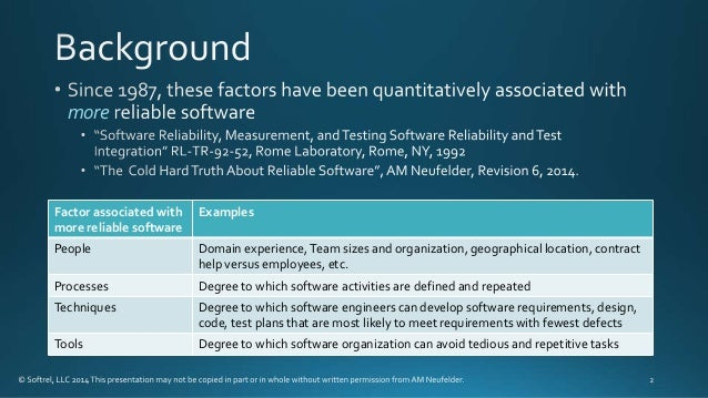 Four things that are almost guaranteed to reduce the reliability of a software intensive system Slide 2