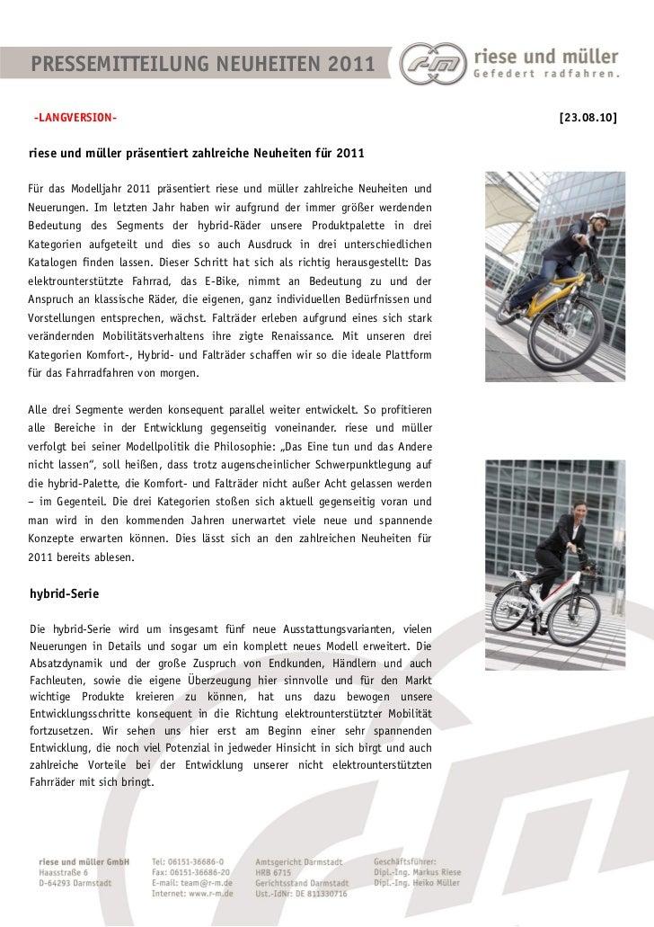 PRESSEMITTEILUNG NEUHEITEN 2011 -LANGVERSION-                                                                     [23.08.1...