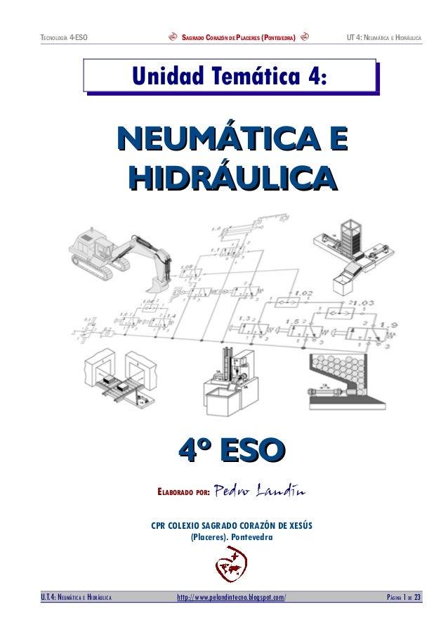 TECNOLOGÍA 4ªESO SAGRADO CORAZÓN DE PLACERES (PONTEVEDRA) UT 4: NEUMÁTICA E HIDRÁULICA Unidad Temática 4: NEUMÁTICA ENEUMÁ...