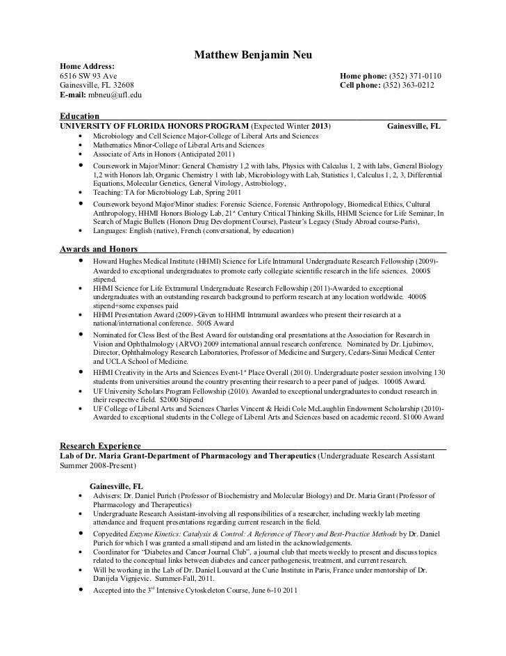 undergraduate research assistant resume