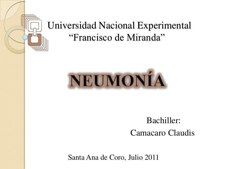 "Universidad Nacional Experimental    ""Francisco de Miranda""                               Bachiller:                      ..."