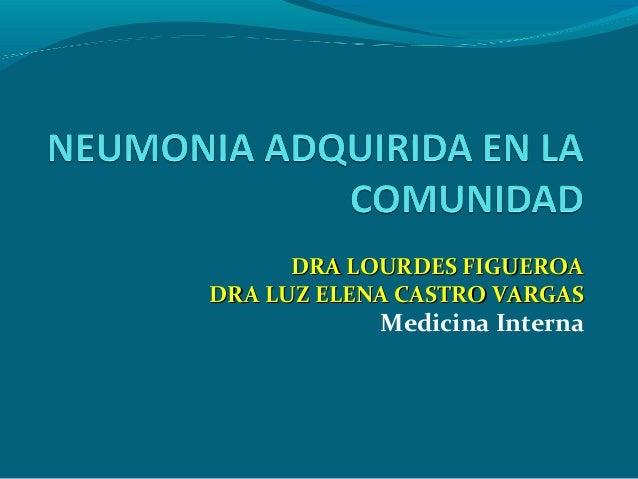DRA LOURDES FIGUEROADRA LOURDES FIGUEROA DRA LUZ ELENA CASTRO VARGASDRA LUZ ELENA CASTRO VARGAS Medicina Interna