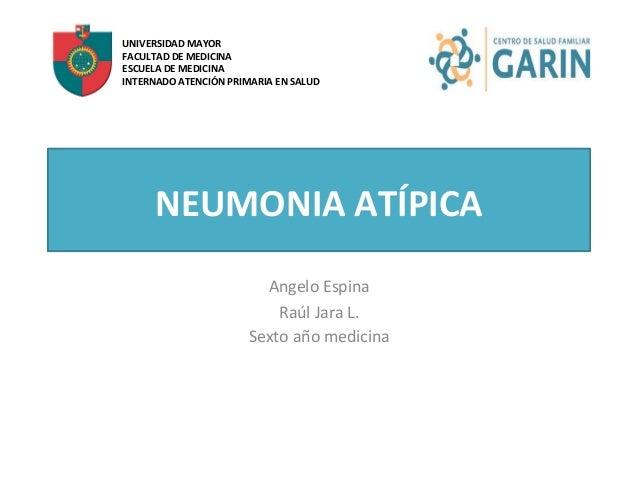 NEUMONIA  ATÍPICA   Angelo  Espina   Raúl  Jara  L.   Sexto  año  medicina   UNIVERSIDAD  MAYOR   ...