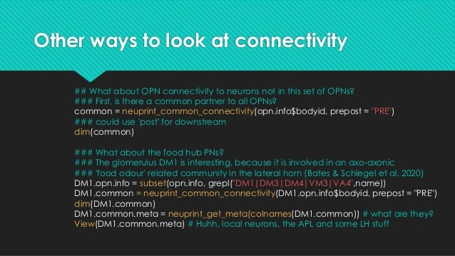 Other ways to look at connectivity ## We can also get all of the neurons in the database that connect to the ### query neu...