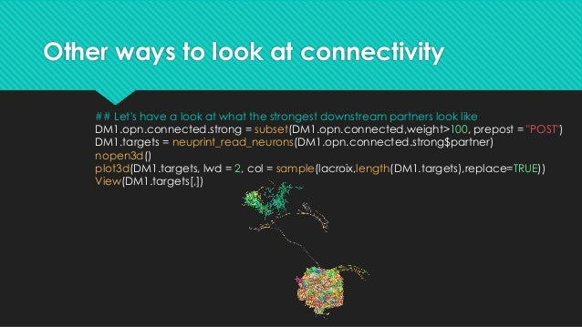 """Other ways to look at connectivity ## So there are three lateral horn neuron targets of the axon there ### c(""""359214479"""", ..."""