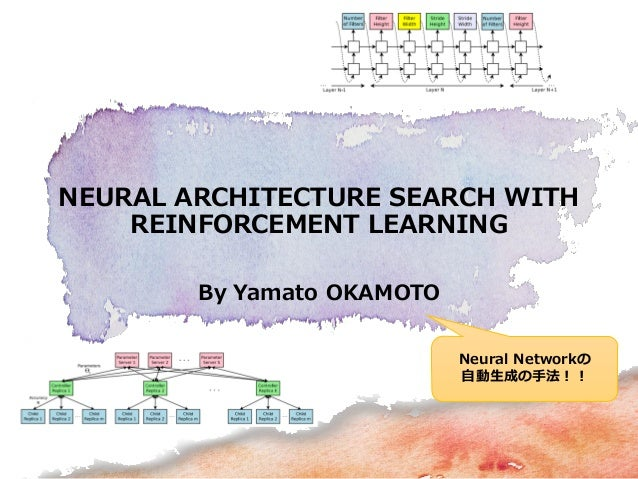 By Yamato OKAMOTO NEURAL ARCHITECTURE SEARCH WITH REINFORCEMENT LEARNING Neural Networkの 自動生成の手法!!