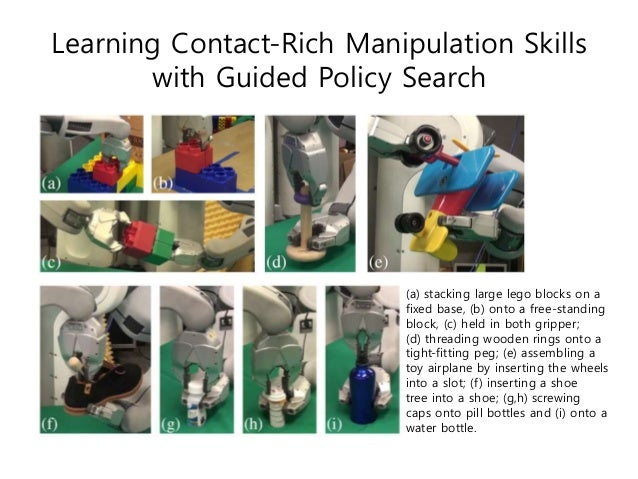 Learning Contact-Rich Manipulation Skills with Guided Policy Search (a) stacking large lego blocks on a fixed base, (b) on...
