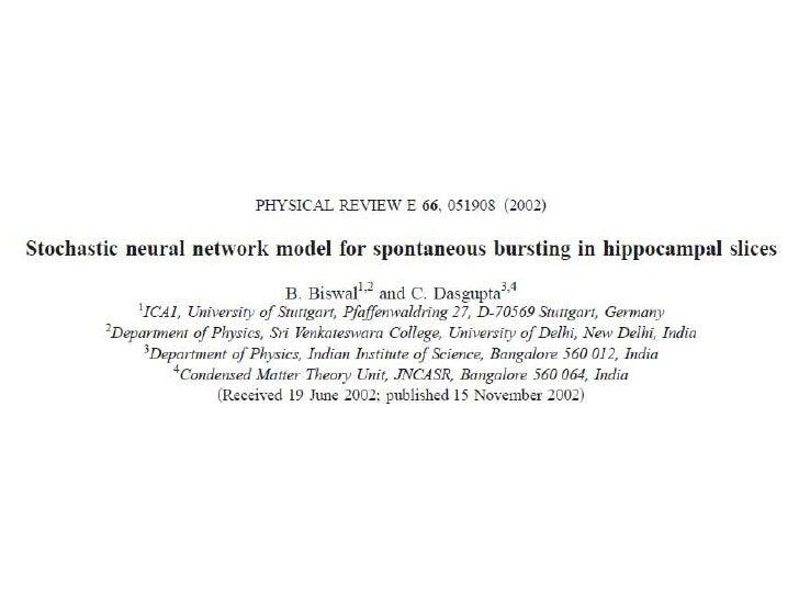 Stochastic Neural Network Model: Part 1 Slide 1