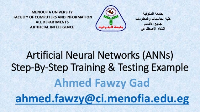 Artificial Neural Networks (ANNs) Step-By-Step Training & Testing Example MENOUFIA UNIVERSITY FACULTY OF COMPUTERS AND INF...