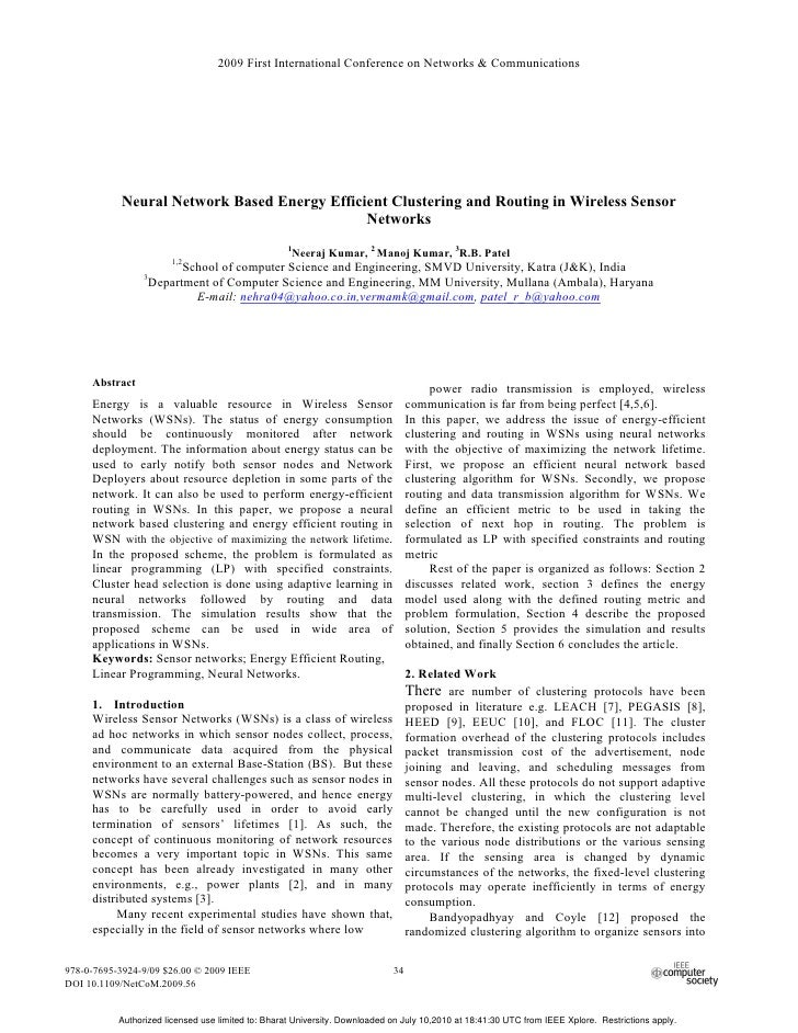 2009 First International Conference on Networks & Communications           Neural Network Based Energy Efficient Clusterin...