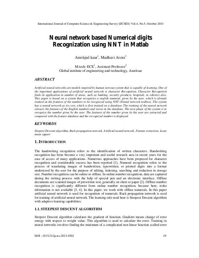 International Journal of Computer Science & Engineering Survey (IJCSES) Vol.4, No.5, October 2013  Neural network based Nu...