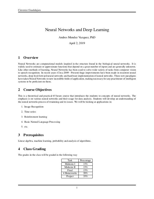 Neural Networks and Deep Learning Syllabus