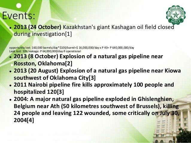 Events:  2013 (24 October) Kazakhstan's giant Kashagan oil field closed during investigation[1] opportunity lost: 160,000...