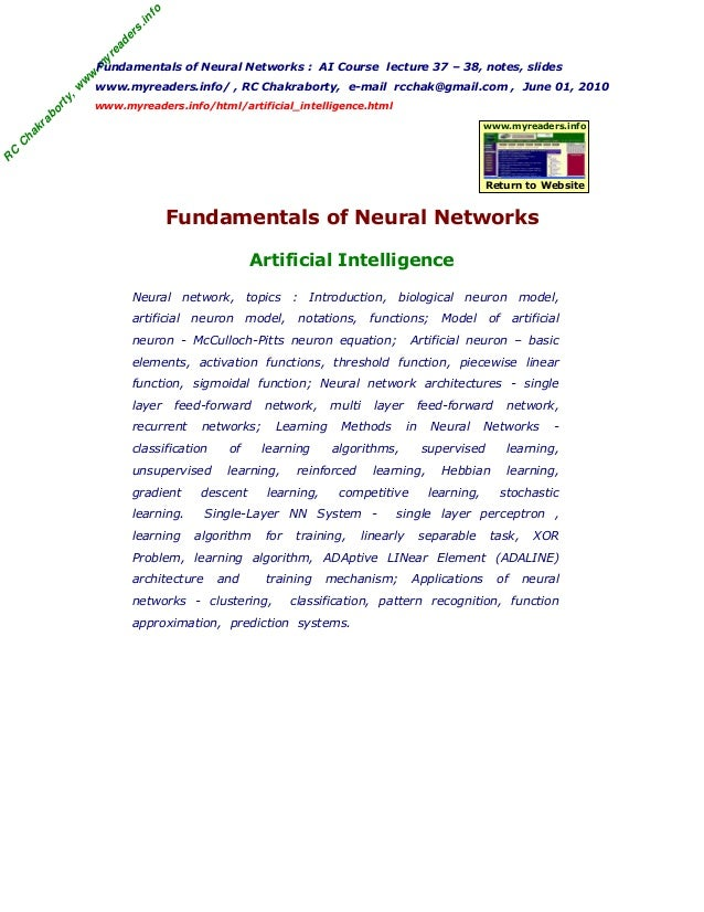 RCChakraborty,www.myreaders.infoFundamentals of Neural Networks : AI Course lecture 37 – 38, notes, slideswww.myreaders.in...