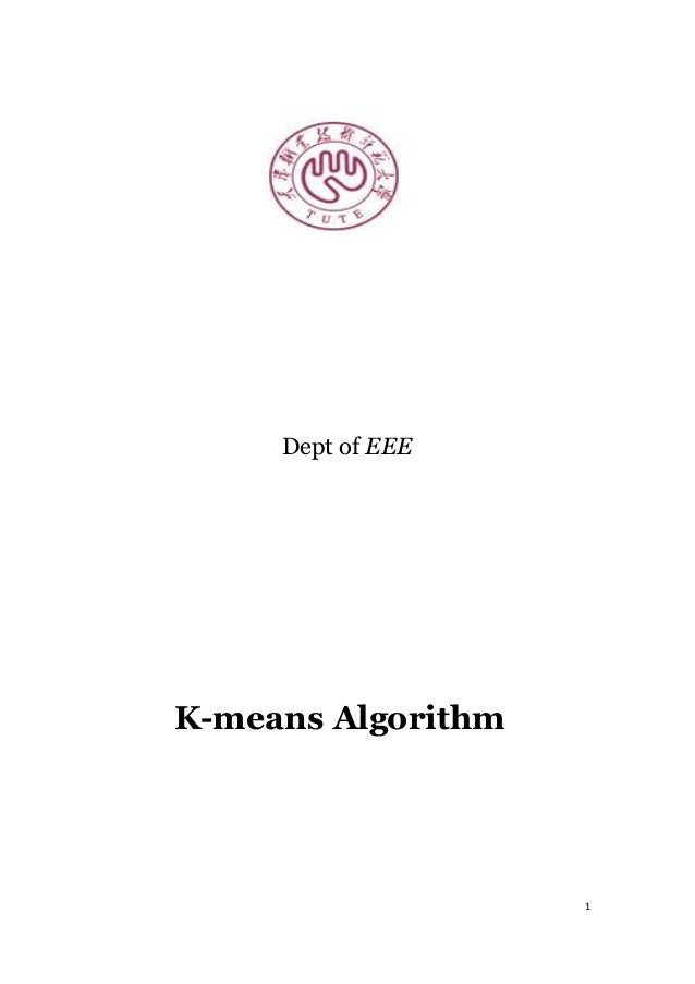 1 Dept of EEE K-means Algorithm