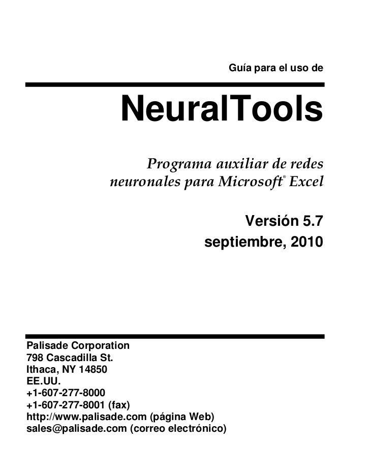 Guía para el uso de                  NeuralTools                     Programa auxiliar de redes                neuronales ...