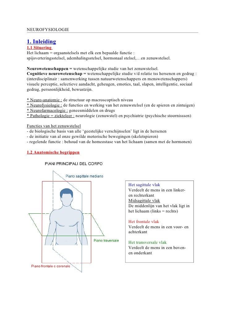 NEUROFYSIOLOGIE  1. Inleiding 1.1 Situering Het lichaam = orgaanstelsels met elk een bepaalde functie : spijsverteringsste...