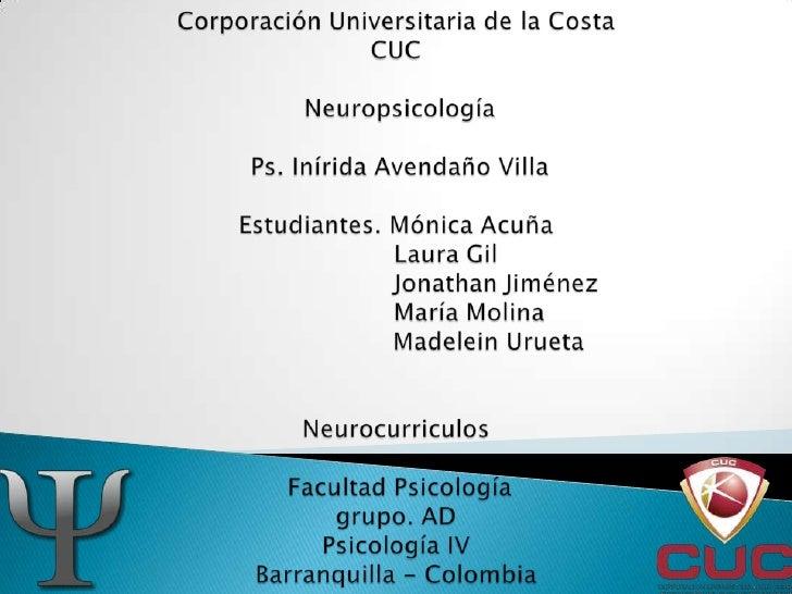 Corporación Universitaria de la CostaCUC Neuropsicología Ps. Inírida Avendaño VillaEstudiantes. Mónica Acuña             L...