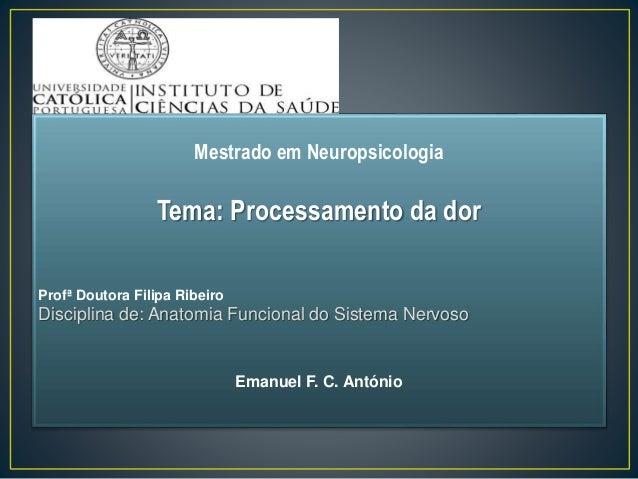 Mestrado em Neuropsicologia Tema: Processamento da dor Profª Doutora Filipa Ribeiro Disciplina de: Anatomia Funcional do S...