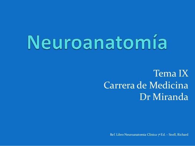 Tema IX Carrera de Medicina Dr Miranda Ref. Libro Neuroanatomia Clínica 7ª Ed. – Snell, Richard