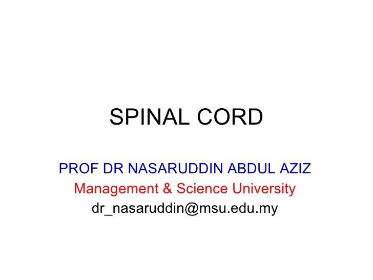 SPINAL CORD PROF DR NASARUDDIN ABDUL AZIZ Management & Science University [email_address]