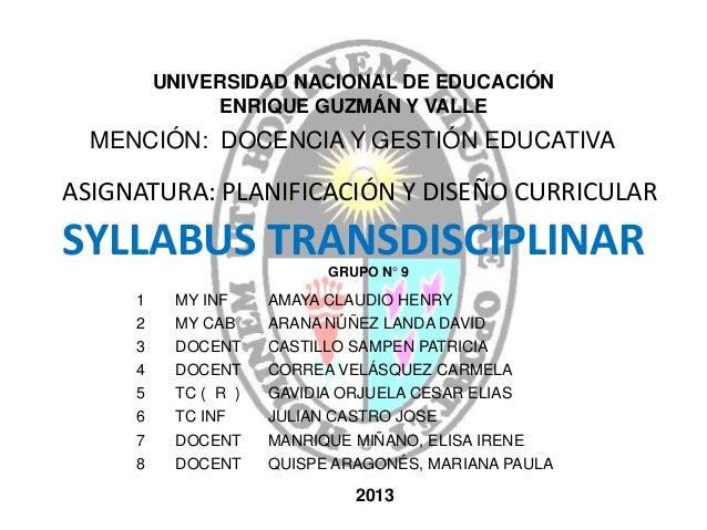 SYLLABUS TRANSDISCIPLINAR 1 MY INF AMAYA CLAUDIO HENRY 2 MY CAB ARANA NÚÑEZ LANDA DAVID 3 DOCENT CASTILLO SAMPEN PATRICIA ...