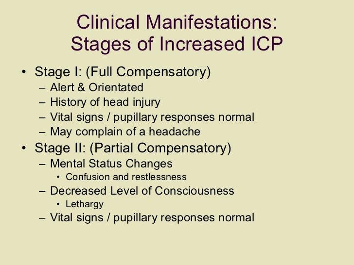 Clinical Manifestations: Stages of Increased ICP <ul><li>Stage I: (Full Compensatory)  </li></ul><ul><ul><li>Alert & Orien...