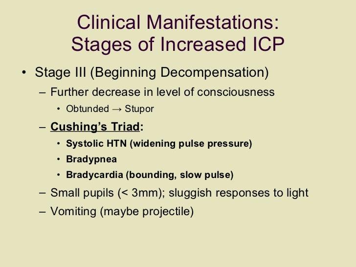 Clinical Manifestations: Stages of Increased ICP <ul><li>Stage III (Beginning Decompensation)  </li></ul><ul><ul><li>Furth...