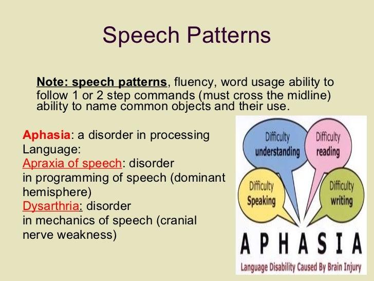 Speech Patterns <ul><li>Note: speech patterns , fluency, word usage ability to follow 1 or 2 step commands (must cross the...